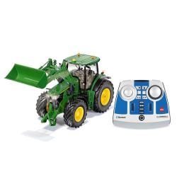 John Deere 7R with front loader and remote control - SET